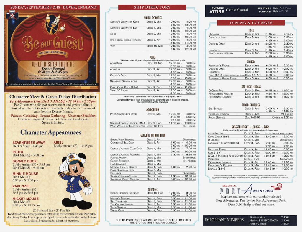WBTA Disney Magic September 9, 2018 Navigator page two Transatlantic Cruise