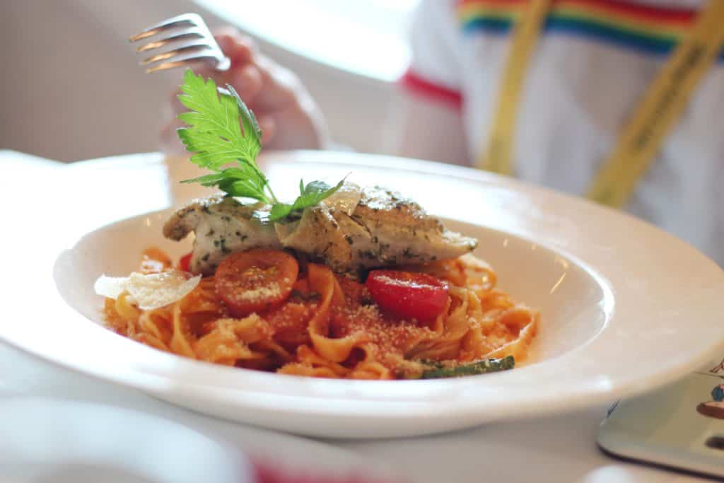 Fettuccine with Grilled Chicken Main Dining Lunch Menu Transatlantic Cruise Disney Magic