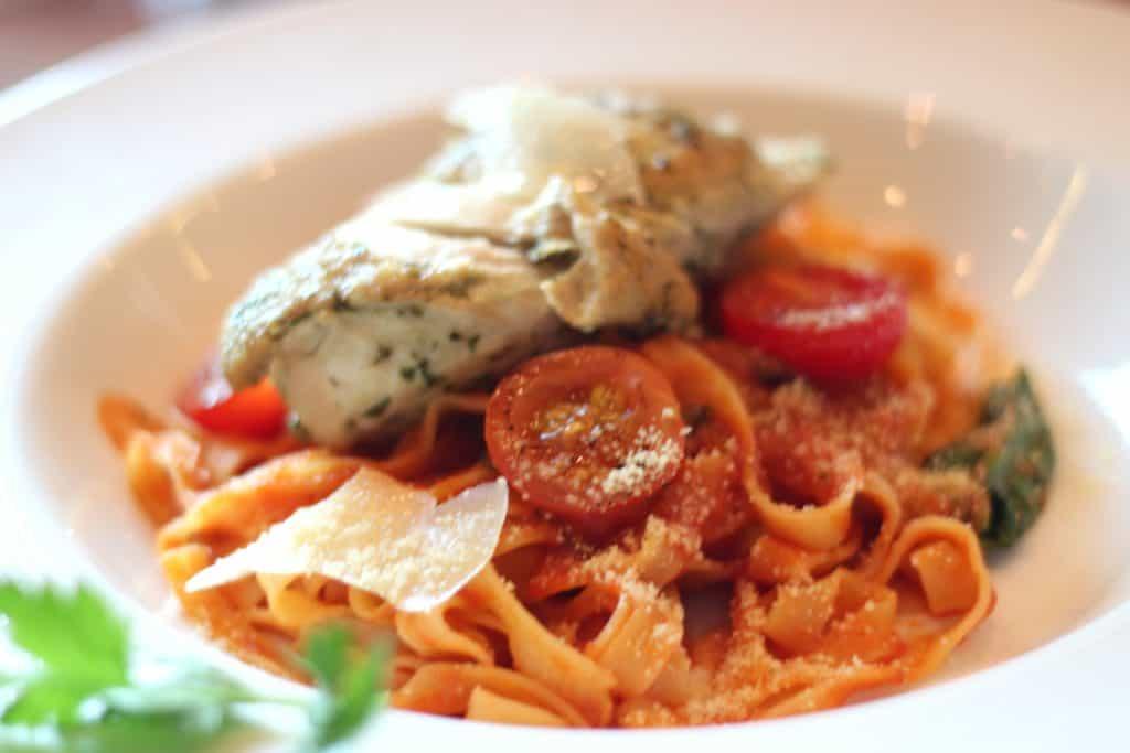 Fettuccine with Grilled Chicken Main Dining Lunch Menu Transatlantic Cruise Disney Magic