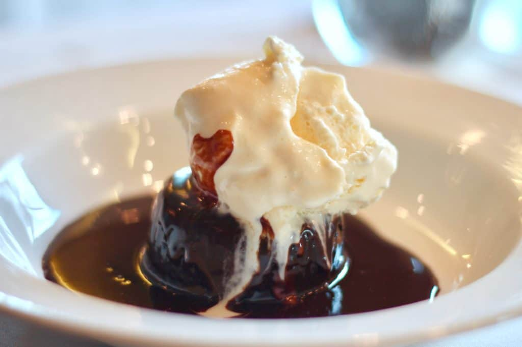 Warm Hazelnut Chocolate Molten Cake Main Dining Lunch Menu Transatlantic Cruise Disney Magic