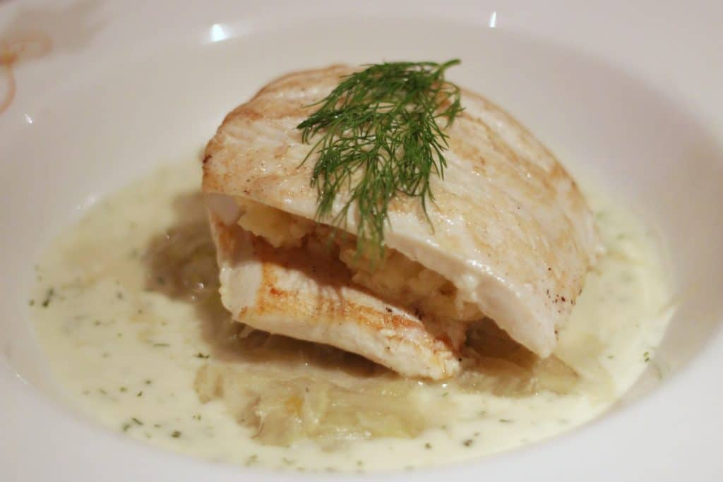 Queen Arianna's Grilled Filet of Turbot Rapunzel's Royal Table Thug Menu Transatlantic Cruise Disney Magic
