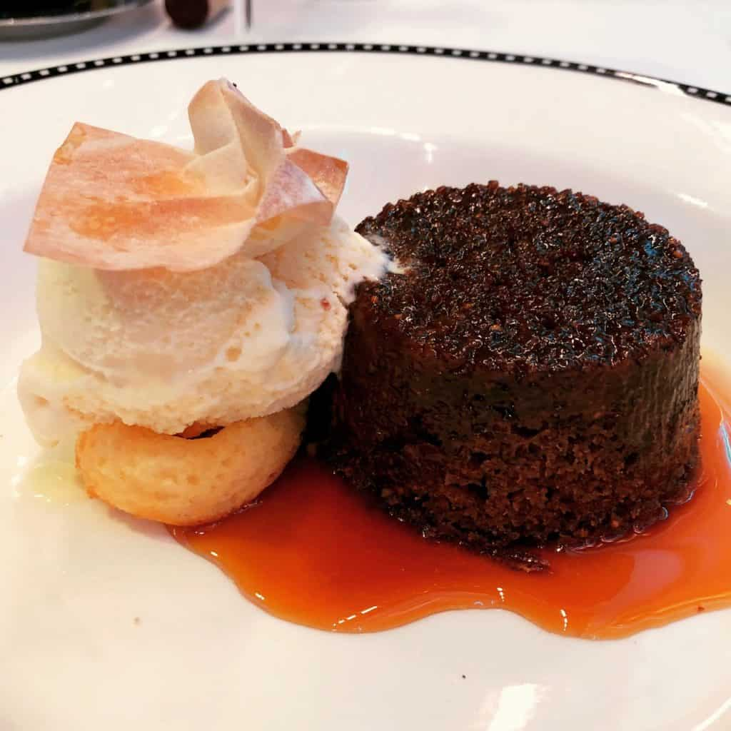 Warm Sticky Fig and Pecan Pudding from the Let the Magic Begin Menu Disney Magic Transatlantic cruise