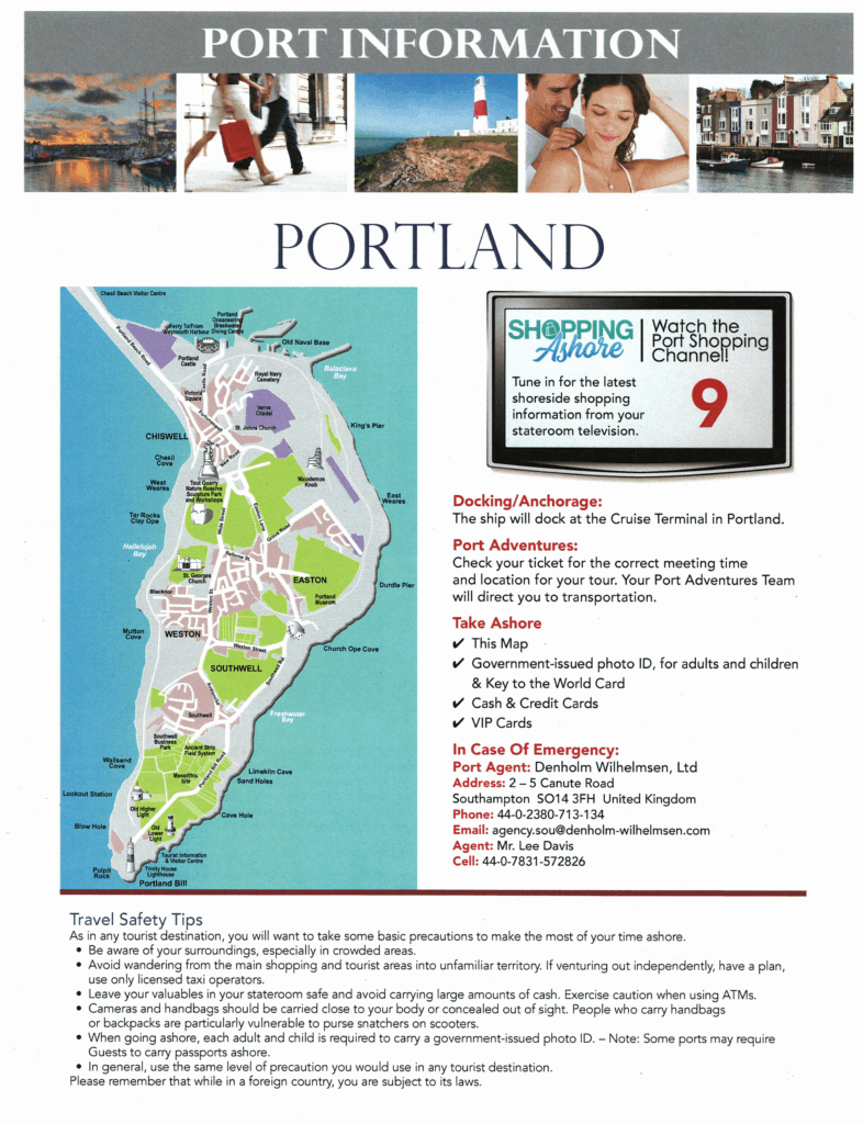 Port Information Page one Portland Westbound Transatlantic Cruise Disney Magic