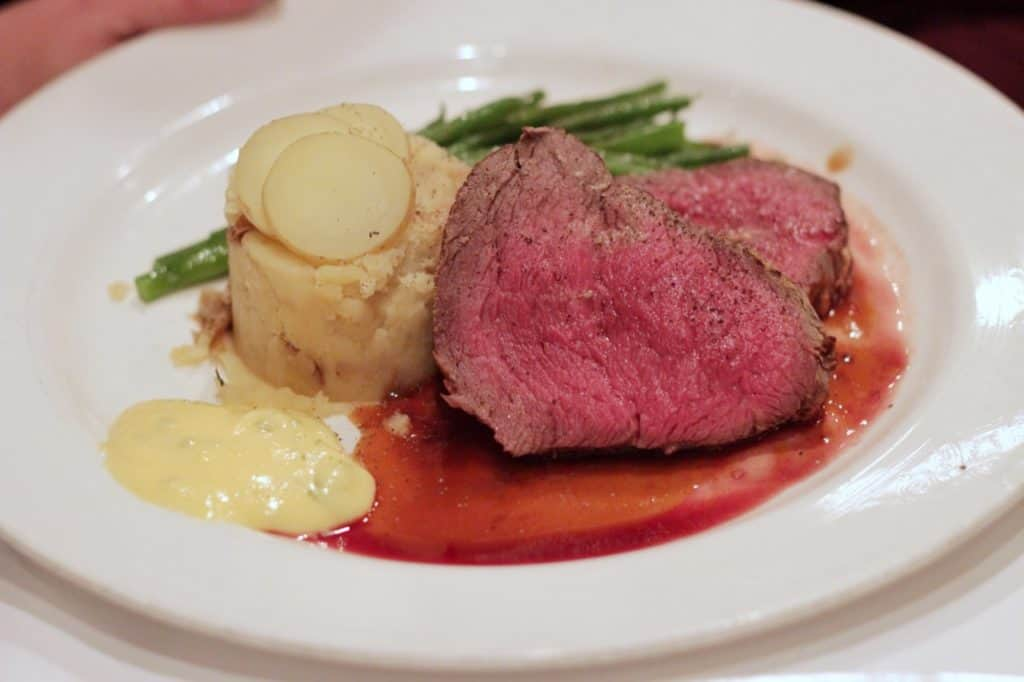 Chateaubriand Roasted Filet Steak at Lumieres on the Disney Magic Westbound Transatlantic cruise
