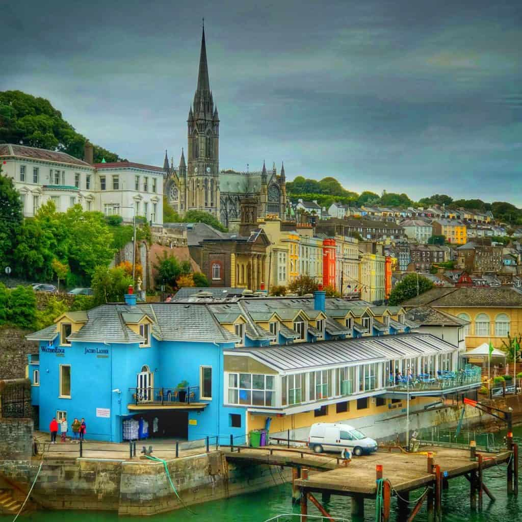 Sailing away from Cobh Ireland Disney Magic Transatlantic cruise