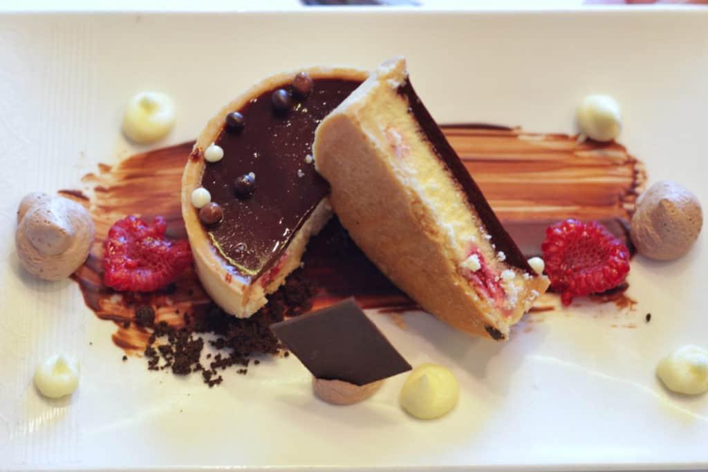 Chocolate Vanilla Raspberry Cheese Tart Disney Magic Lunch Transatlantic Cruise sea days