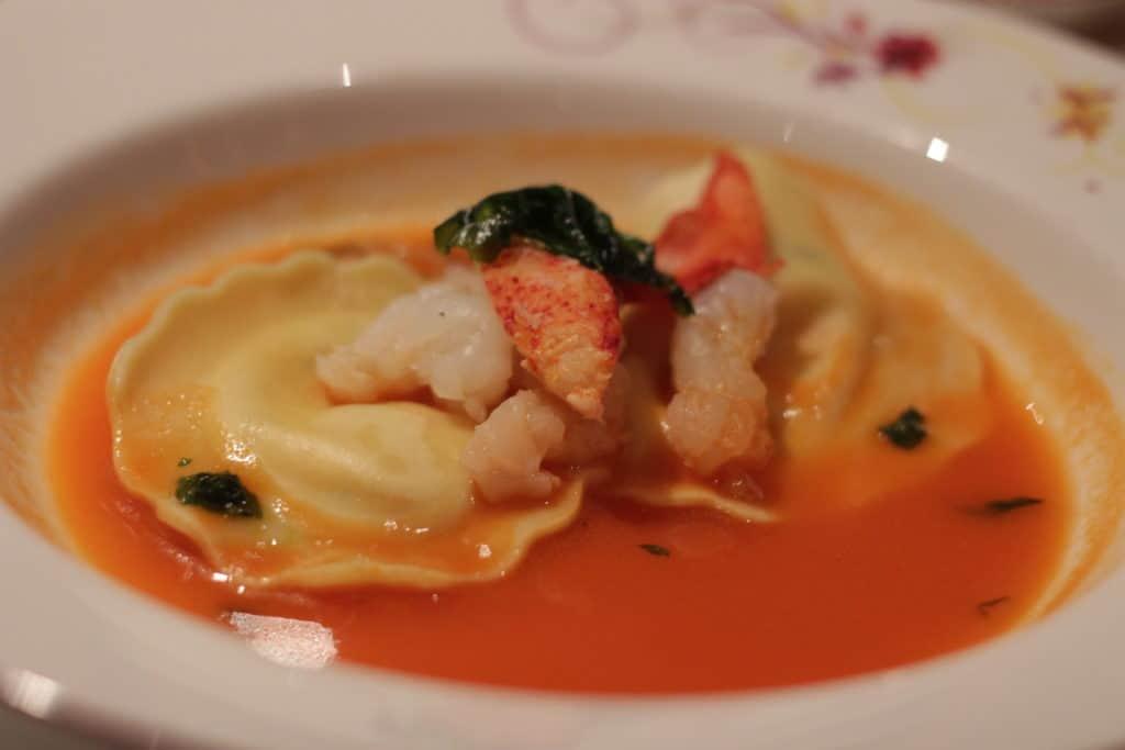 North Atlantic Lobster Ravioli Rapunzel's Royal Table Seasons Menu Transatlantic Cruise Disney Magic