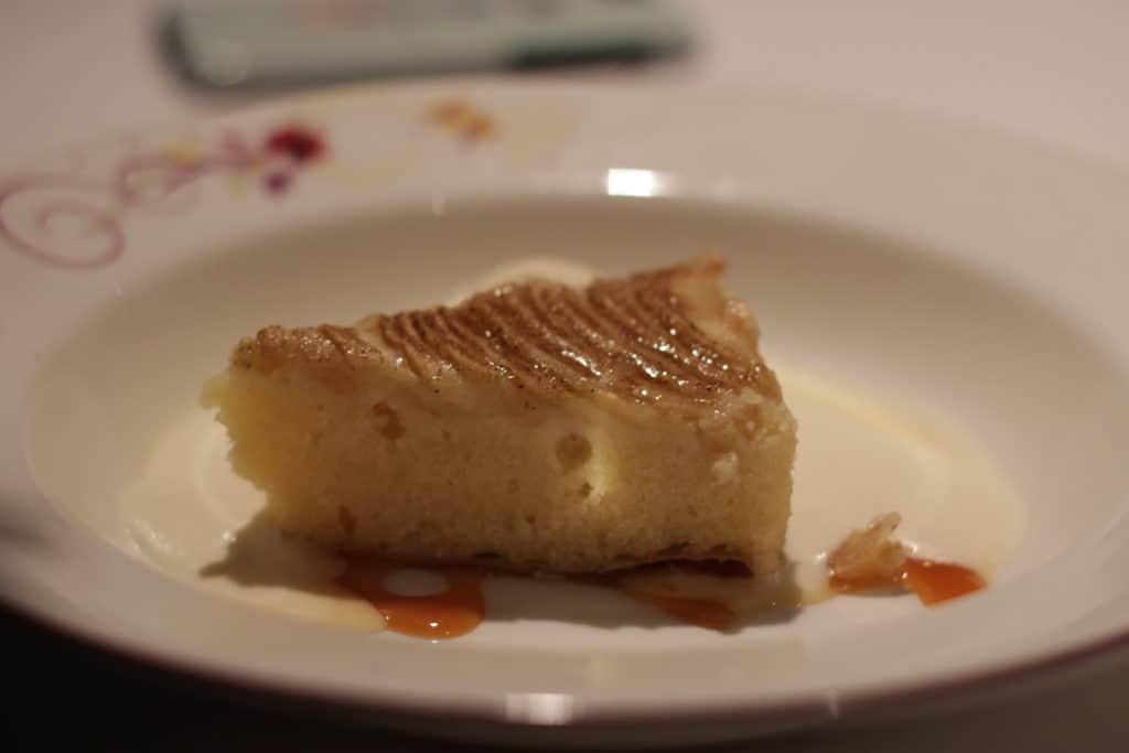 Almond Tart served with Caramel Sauce and Vanilla Ice Cream Rapunzel's Royal Table Seasons Menu