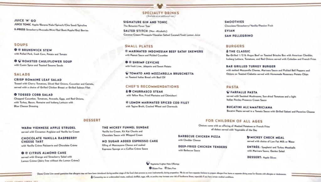 Lumiere's Lunch Menu Disney Magic Transatlantic Cruise sea days