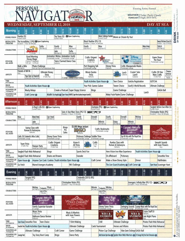Daily Navigator September 12, 2018 Disney Magic Transatlantic Cruise Sea day