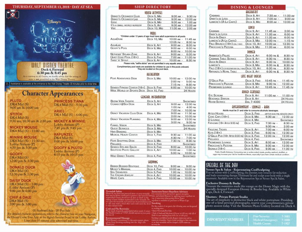 Page 2 Daily Navigator September 13, 2018 Disney Magic Transatlantic Cruise