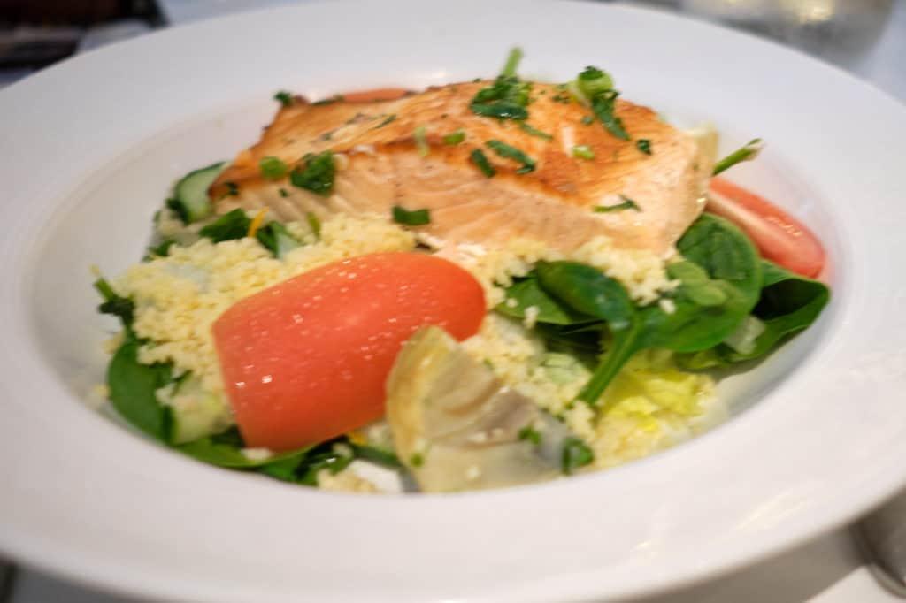 Grilled Salmon Salad at Triton's Disney Wonder Lunch