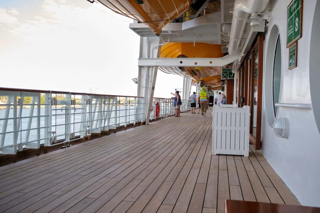 Deck four after the Muster drill Disney Wonder from the port of San Juan to New Orleans