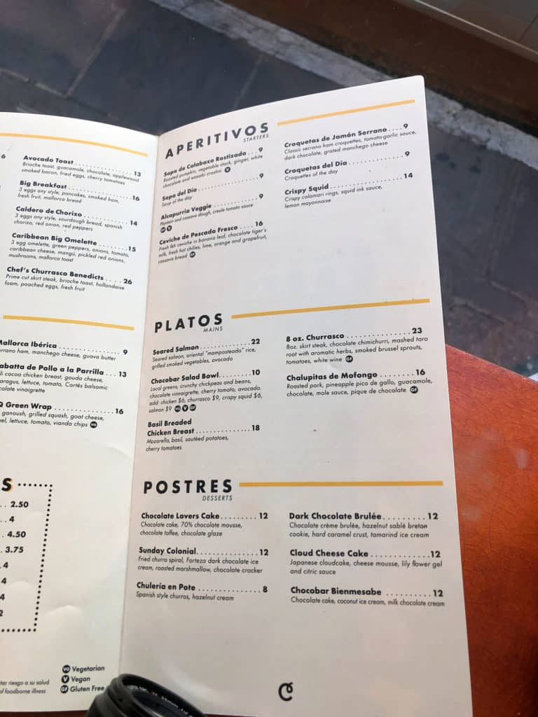 Menu at Chocobar