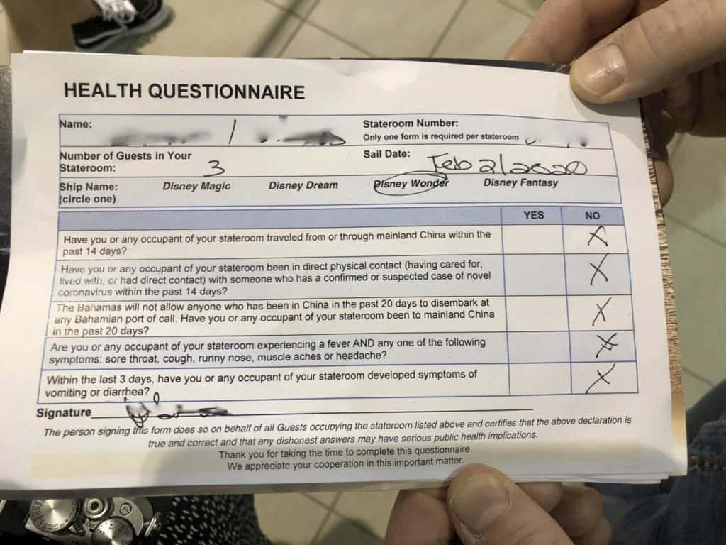 Health Questionnaire Wonder Port of San Juan to New Orleans