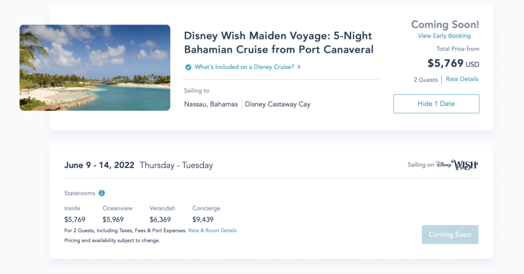 Opening Day Pricing for the Maiden Voyage